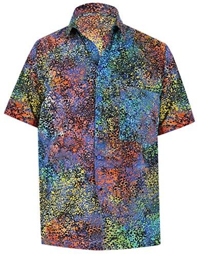 La Leela* Arbre Aloha Hommes en Coton Bouton Vers le Bas Bleu Royal Hawaïen Chemise Tropicale Ble