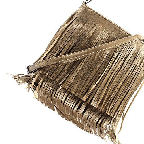 Shoulder Faux Cross body Leather Messenger Ladies Fringe Tassel Bag Gold Small wZqWXF6X
