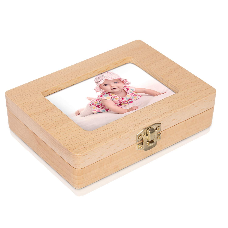 Baby-Zahn-Box Zubeh/ör Gratis Uiter Handgemachtes Rechteckiges Milchzahn-Aufbewahrungs-K/ästchen aus Holz f/ür Kinder-Z/ähne Haltbarer Sicherer Organizer