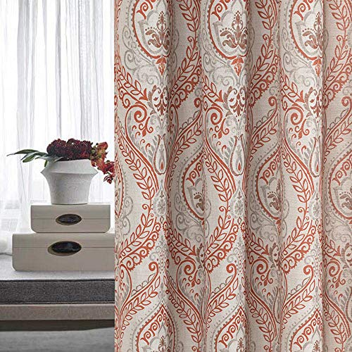Vintage Linen Curtains for Living Room with Multicolor Damask Printed Drapes for Bedroom Medallion Curtain Sets for Windows Patio Door (2 Panels, 84 Inch, Terra Cotta) ()