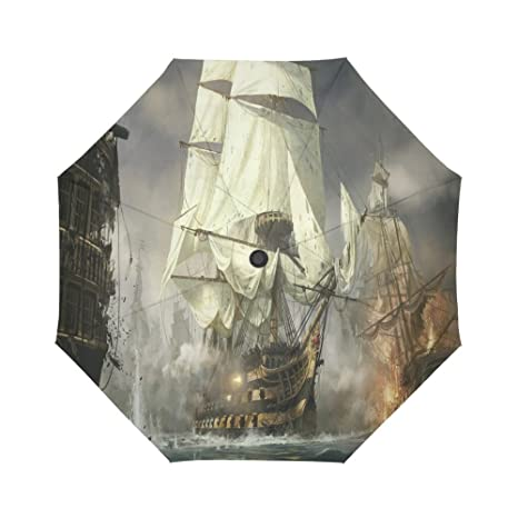 Design With Nautical Ship Pattern Windproof Rainproof Automatic Foldable Umbrella,Travel Umbrella Compact Sun//Rain Hot-Selling
