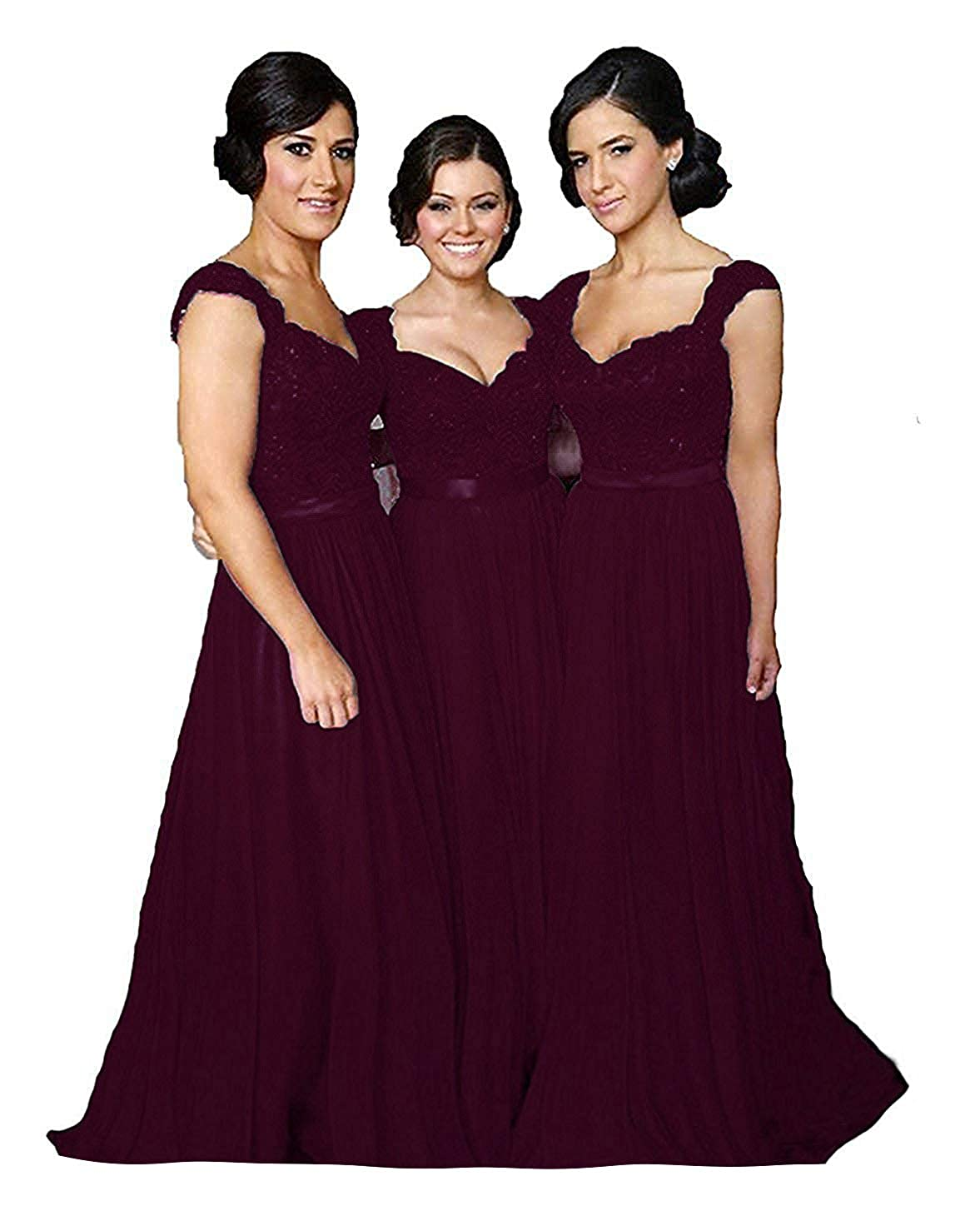 Dark Burgundy Fanciest Women' Cap Sleeve Lace Bridesmaid Dresses Long Wedding Party Gowns
