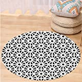 VROSELV Custom carpetArabesque Authentic Moroccan Islamic Old Motif with Oriental Effects Middle Eastern Print for Bedroom Living Room Dorm Black White Round 79 inches