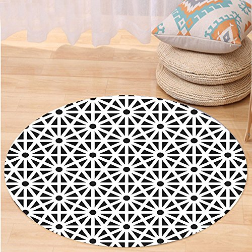 VROSELV Custom carpetArabesque Authentic Moroccan Islamic Old Motif with Oriental Effects Middle Eastern Print for Bedroom Living Room Dorm Black White Round 79 inches by VROSELV
