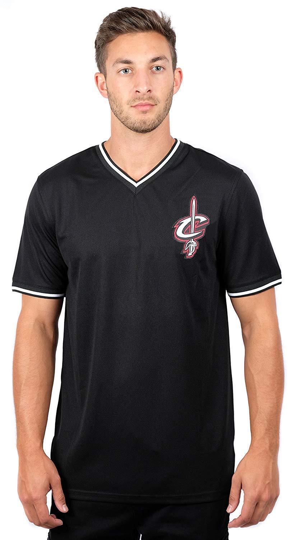 new concept 85541 0d82a NBA Cleveland Cavaliers Men's Jersey T-Shirt V-Neck Mesh Short Sleeve Tee  Shirt, Medium, Black