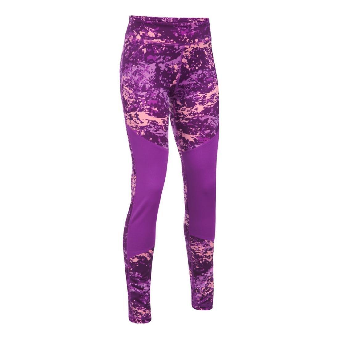 Under Armour Girls' ColdGear Novelty Leggings,Purple Rave (959)/Indulge, Youth Large