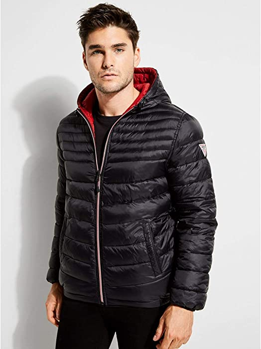 7fcd1aa5f5b1 GUESS Men s Dawn Reversible Puffer Jacket Jet Black at Amazon Men s  Clothing store