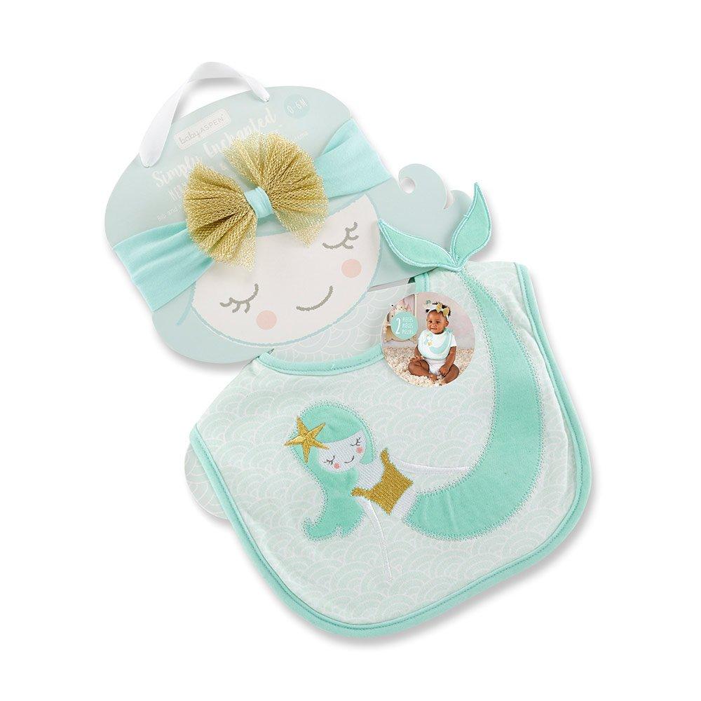 Baby Aspen Simply Enchanted Mermaid Bib and Headband Set, Mint White Gold