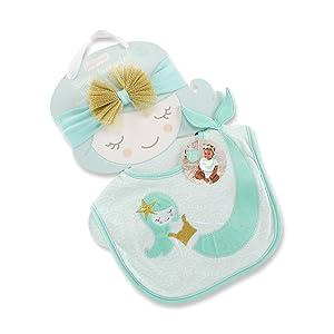 Baby Aspen Simply Enchanted Mermaid Bib and Headband Set, Mint/White/Gold