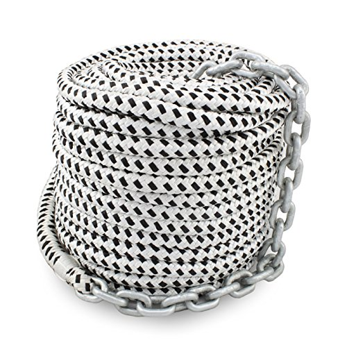 Norestar 150 feet by 1/2 inch Braided Nylon Boat Anchor Rope and 15 feet by 1/4 inch Marine HT G4 Chain for Boat Windlass, Prespliced
