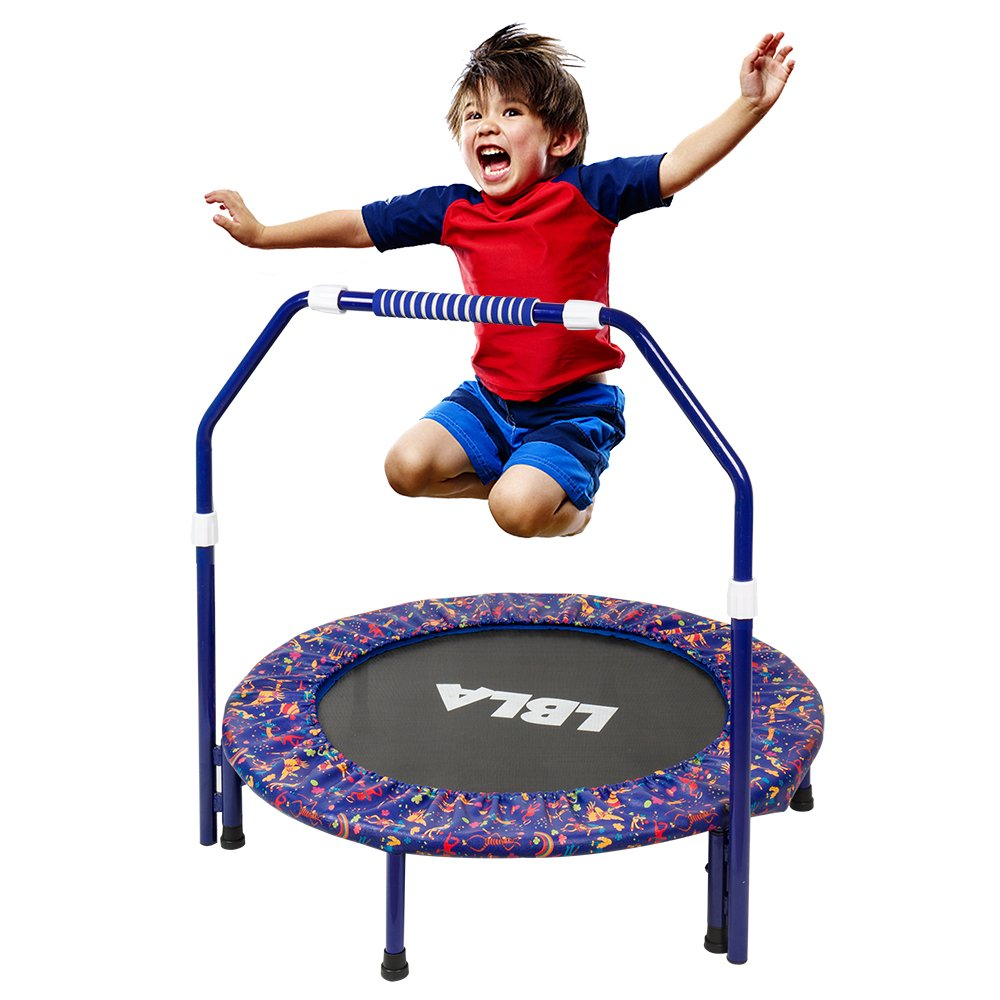 Kids Trampoline with Adjustable Handrail and Safety Padded Cover Mini Foldable Bungee Rebounder by LBLA