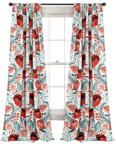 (Lush Decor Poppy Garden Curtains Room Darkening Window Panel Set for Living, Dining, Bedroom (Pair), 84