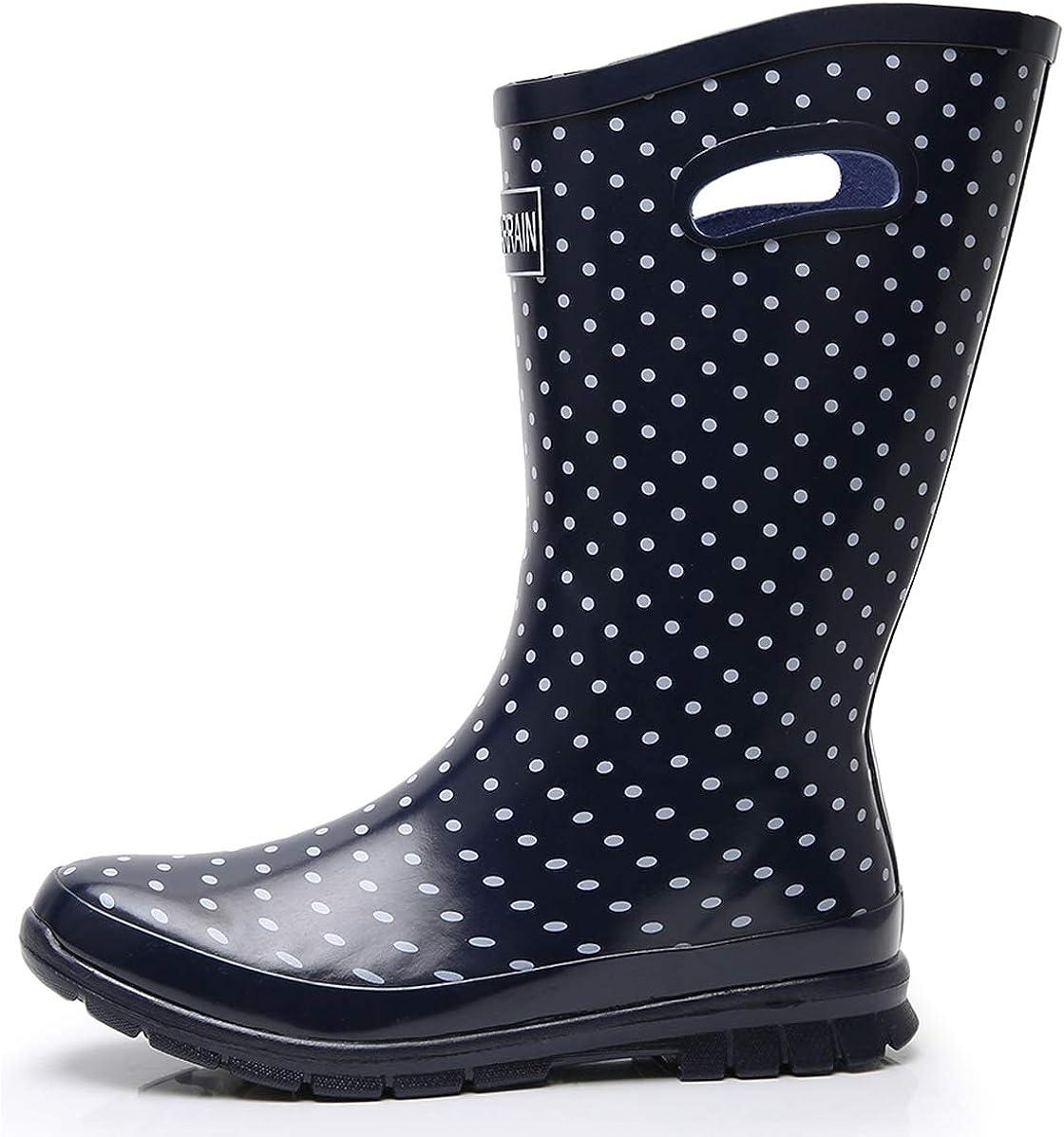 Women/'s lady Rain Boots Rubber Casual Waterproof non slip Mid Calf  Boots