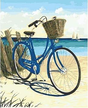Pintura por Números para Adultos Niños DIY Oil Painting-Bote De Bicicleta Junto Al Mar-Personalidad Artística Casual Juego Divertido Juguete Adecuado para Amigos De La Familia 40x50cm (Sin Marco): Amazon.es: Juguetes y juegos