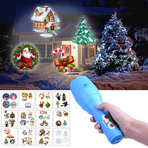 Christmas Flashlight with Music Player, LED Portable Projector Light with 12 Pattern Slides and Tripod for Easter Birthday Xmas Party (Blue)