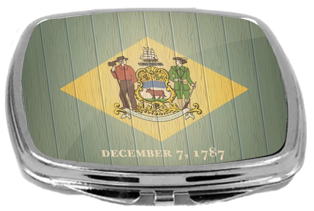 Rikki Knight Compact Mirror on Distressed Wood Design, Delaware Flag, 3 Ounce