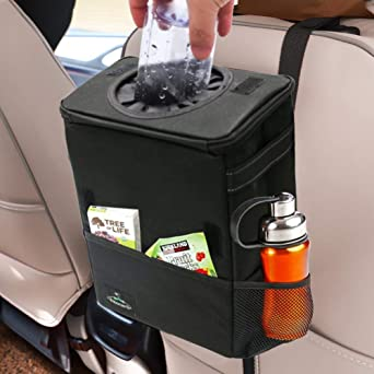 Portable Travel Outdoor Cooler Bag Hanging Durable Automotive Storage Bag 100/% Leak-Proof Inside Lining with Extra Insulated Bag Car Trash Garbage Can with Lid and Tissue Box