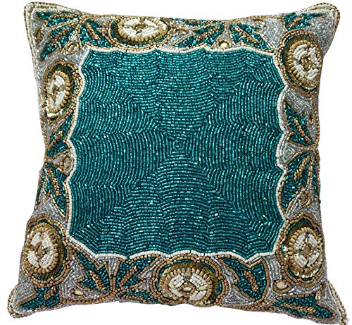Linen Clubs Beaded Throw Pillow Cover/Euro Sham/Cushion Sham, Super Luxury Soft Pillow Cases-Square Design 14x14 Teal Gold Multi ()