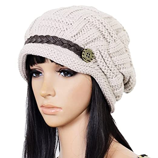 Bigbuyu Slouchy Beanie Knit Hat Women Winter Cabled Checker Pattern
