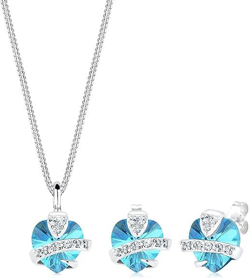 Schmuckset Herz Kristall Halskette Anhänger Ohrringe Ketten Modisch Statement