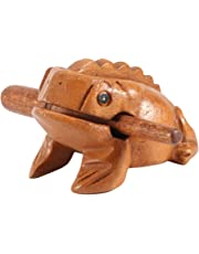 Wood Frog - Delaman Handcraft Musical Instrument Tone Block, Guiro RASP, Lucky Frog, Thailand Traditional Craft for Home and Office Decor (5.8CM)