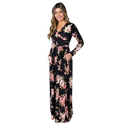 Aurorax Women's Fashion Long Sleeve Casual Loose Pullove V Neck Floral Printed Evening Party Long Maxi Dress