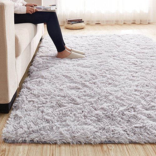 (MAXYOYO 3.5 CM Height Solid Color Large Fluffy Shaggy Area Rug Anti-Skid Carpet, Ultra Soft Easy Care Rug Bedroom/Living Room, 79 102 Inch)