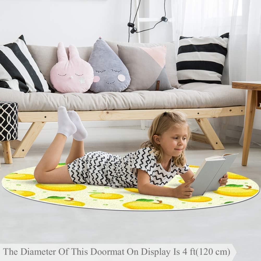 rutschfeste Au/ßenteppiche Wetia Gelbe Zitronenscheibe Runder Teppich f/ür Kinder weich mit Einer Wildlederoberfl/äche als Geschenk f/ür Kinder im Wohnzimmer und im Kinderzimmer 120 cm