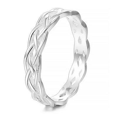 7c74c5d21e3 MunkiMix 925 Sterling Silver Band Ring Silver Tone Triquetra Irish Celtic  Knot Eternity Wedding Love Women