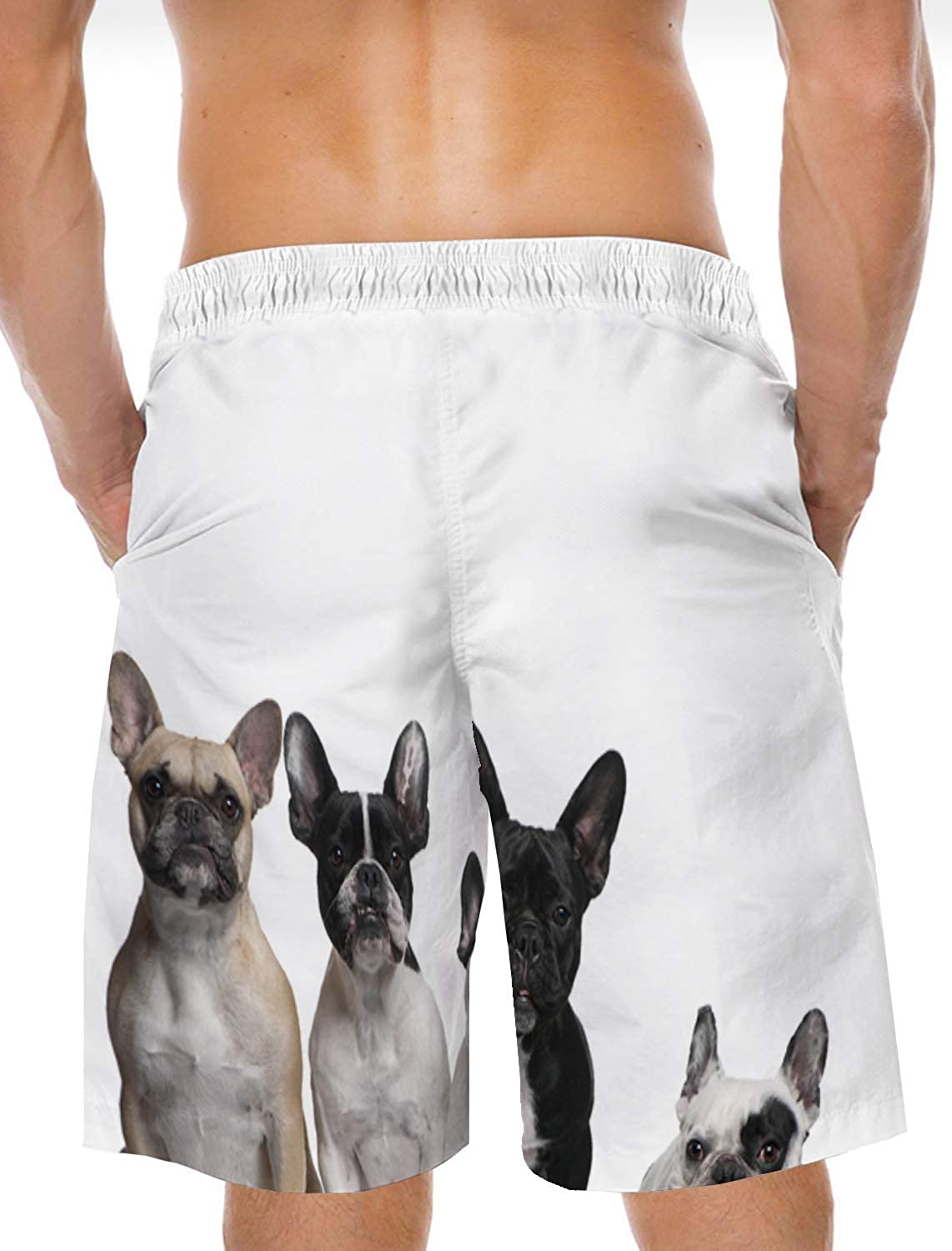 Mens Beach Shorts Chinese Ink Painting Summer Casual Quick Dry Short Pants Stretch Swimming Trunks with Pocket