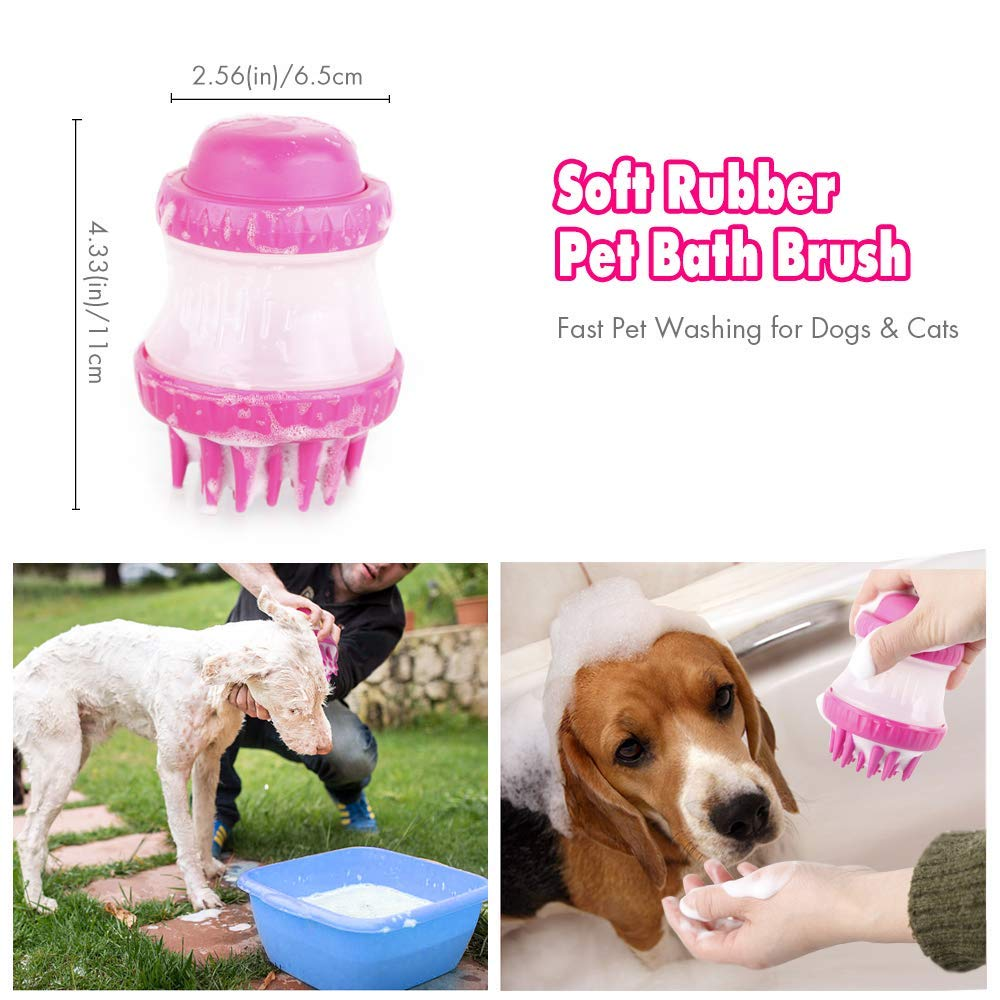 PETS EMPIRE Soft Rubber Pet Bath Brush Cleaning Massage Tools with Built-in Shampoo Fast Pet Washing for Dogs /& Cats Pink