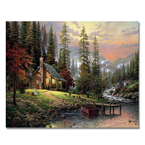 (LIUDAO Paint by Numbers for Adults Kids - DIY Full Set of Assorted Color Oil Painting Kit and Brush Accessories - Forest Cabin 16x20 inch Without Frame )
