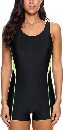 CharmLeaks Womens One Piece Swimsuit Boyleg Swimwear Sports Swimming Costume ...