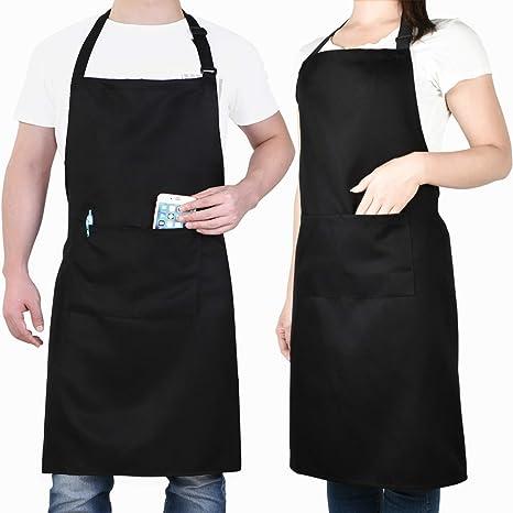Adjustable Apron Dress Waterproof Cooking Kitchen Restaurant Chef Bib w//Pockets