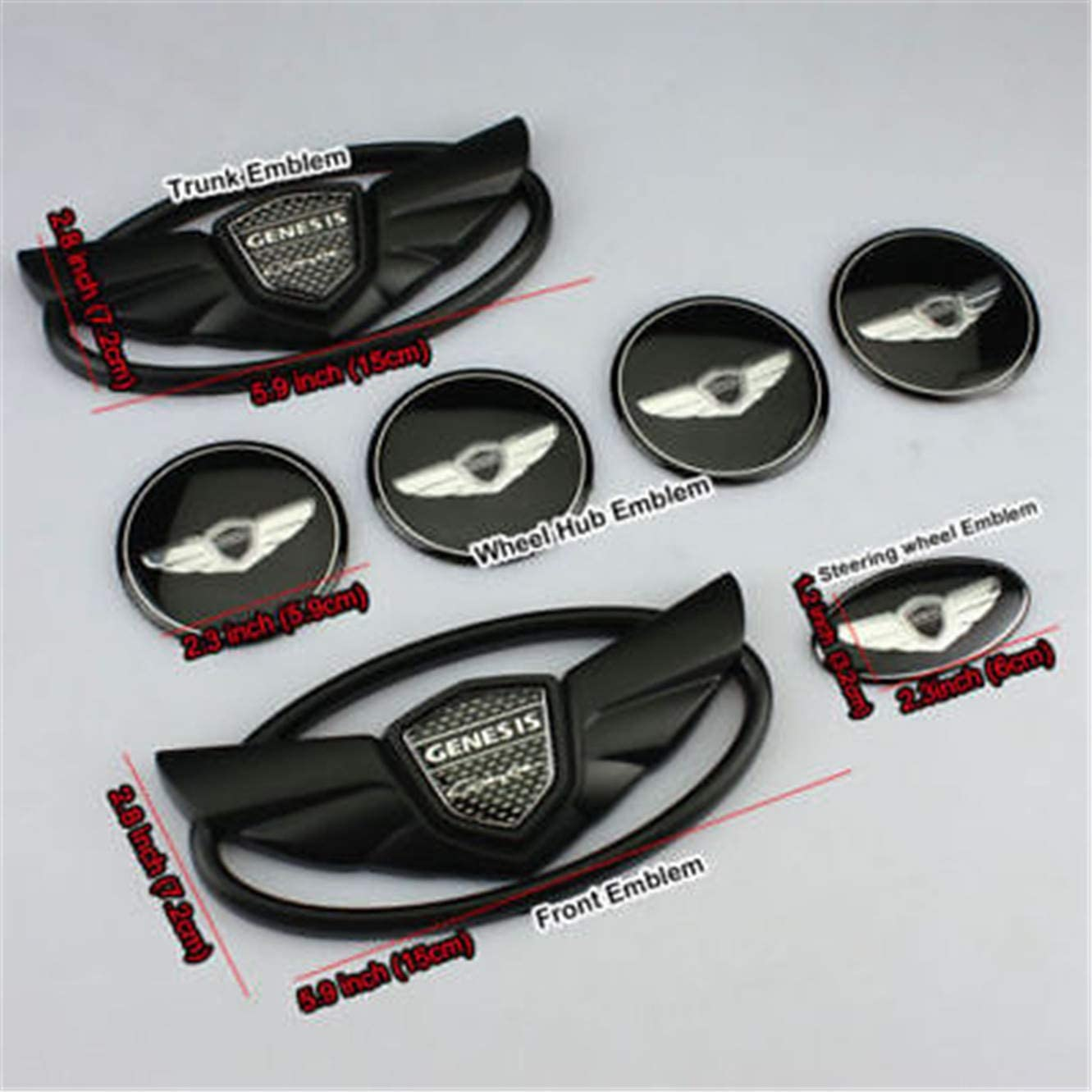 for Genesis Coupe Matte Black Wing Logo Emblem Set 7pcs