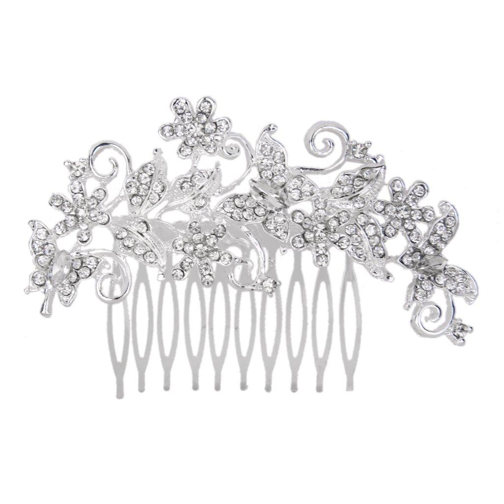 MagiDeal Bridal Bridesmaid Flower Rhinestonee Hair Comb Slide Clip Hairpiece 11x7cm ESB15018103