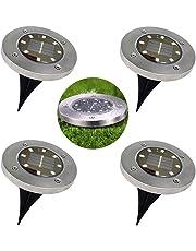 Solar Ground Lights - 8 LED Waterproof Garden Path Outdoor Lighting with Light Sensor for Lawn Patio Yard Walking Driveway