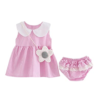 7e13dfc49e05e Zerototens Girls Dresses, Newborn Baby Girls Princess Dress Plaid Vest Dress  and Lace Short Pants