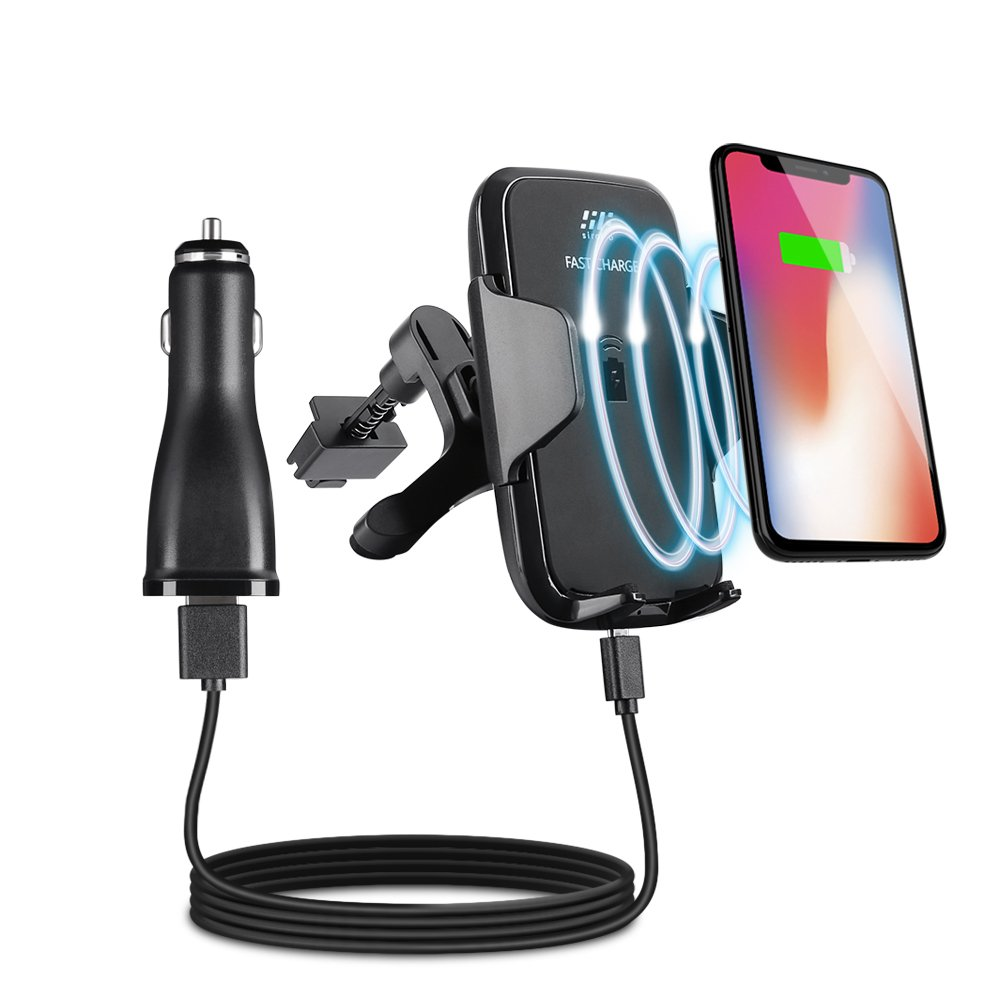 Fast Wireless Car Charger, Siroflo Car Mount Air Vent Phone Holder Cradle Charging for Samsung Galaxy S8,S8 Plus,S7,S6 Edge+,IPhone 8/8 Plus, iPhone X Compatible All Wireless Standard Charge Devices