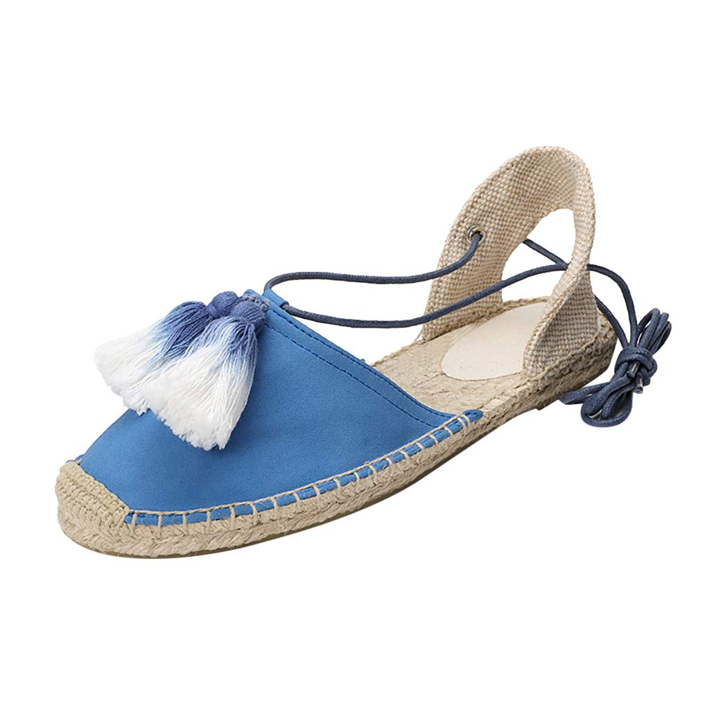 DDKK sandals Hot Classic Summer Deal!Closed Toe Platform Wedge Sandals for Women-Ankle Wrap Espadrille Flats-Breathable Comfortable Round Peep Hemp Strappy Bohemian Sandals Shoes