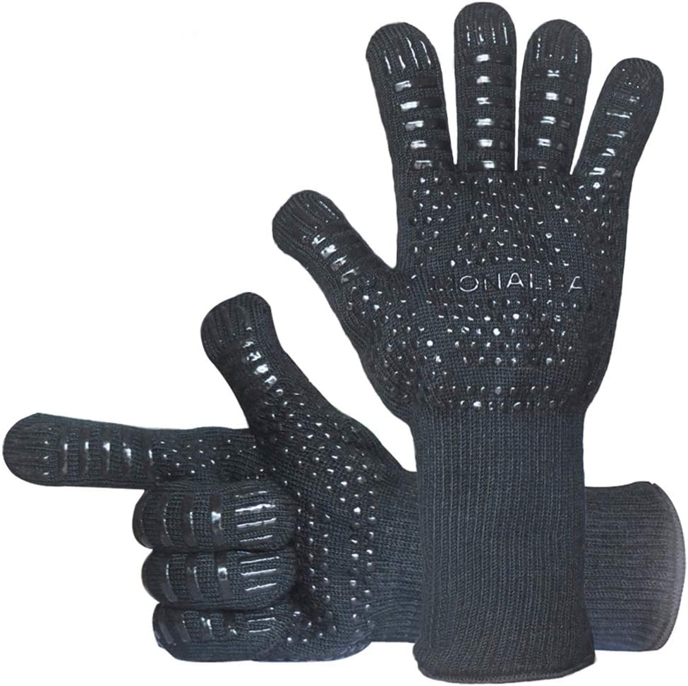 MONALBA BBQ Grilling Gloves Extreme Heat Resistant Pot Holders 1472℉ Premium Barbecue /& Oven Mitts CE Certified Insulated by Aramid Withstand Heat Kitchen Cooking Baking Gloves