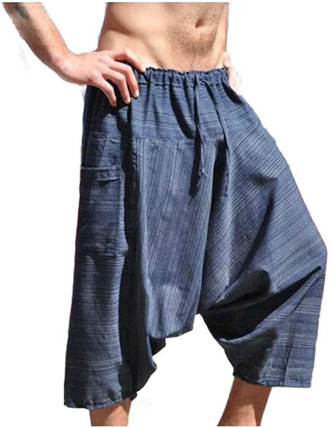 Candiyer Mens Ethnic Style Hip Hop Waistband Stretchy 3/4 Pants Leg Pants
