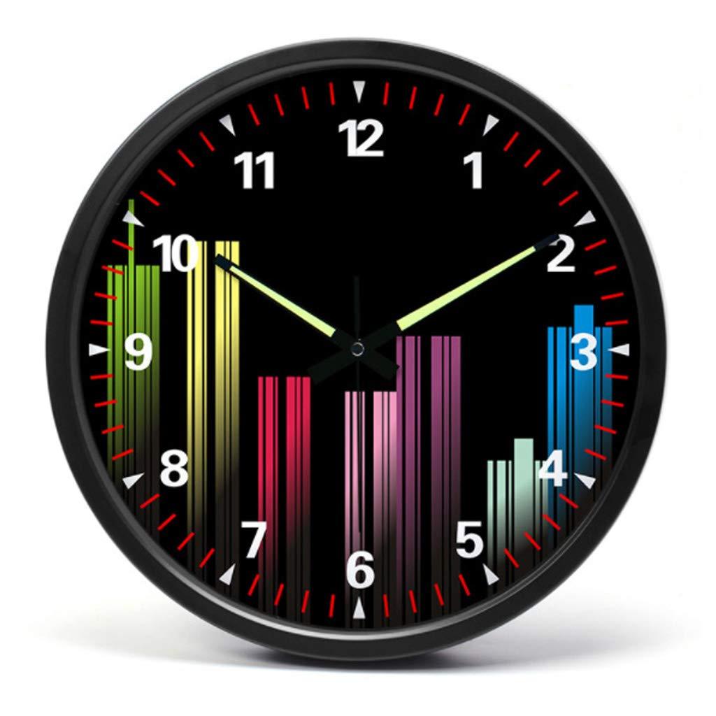 ステンレス製の金属ミュート壁時計、リビングルーム、ベッドルームシンプルでスタイリッシュなウォールクロック  Black border B07QZQ26VV