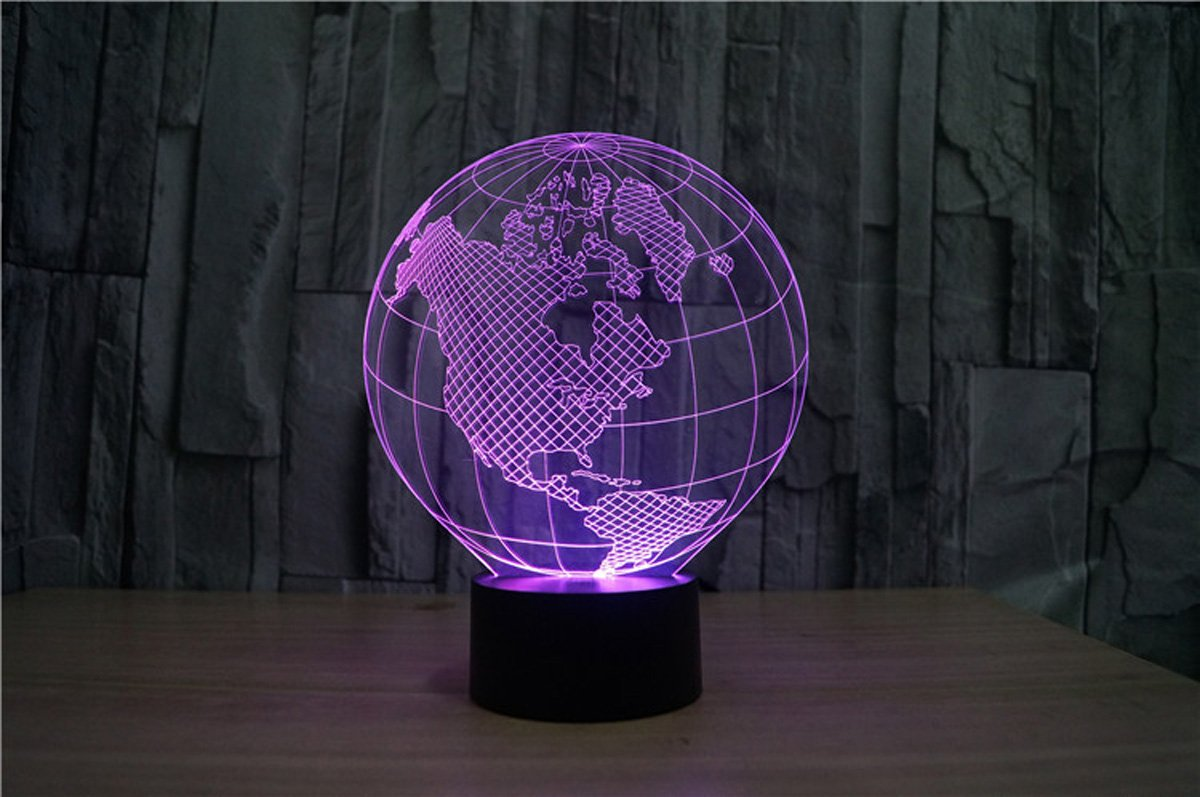 WONFAST® 3D World American Globe Optical Illusion Lighting 7 Colors Change Touch Switch LED Table Lamp Children's Night Light for Home Decoration Household Bedroom by WONFAST (Image #4)
