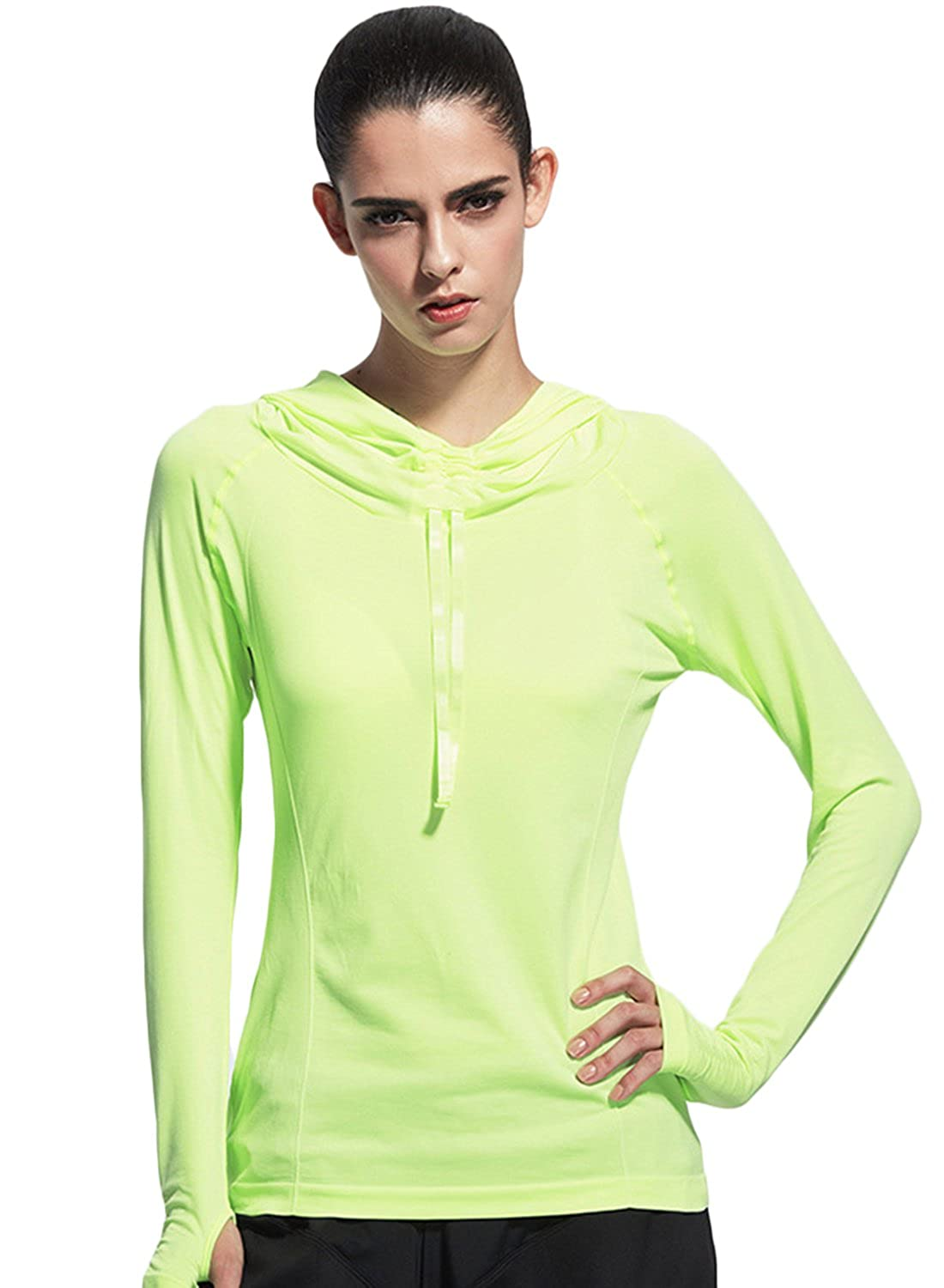 ACHICGIRL Women's Funnel Neck Drawstring Hooded Sports Top with Thumb Hole