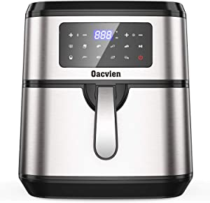 Oacvien Air Fryer, 9.8 Quart Large Air Fryer, 1700W Hot Airfryer Oven with Touch Control Panel, Remember, Temperature Control and 9 Preset Menus for Bake, Roast, Grill and Thaw, ETL Certified