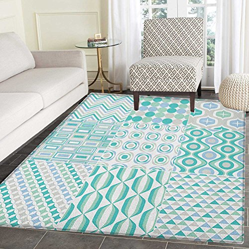 Vintage Rug Kid Carpet Abstract Mosaic Art Geometric Shapes Stripes Patterns with Colorful Design Home Decor Foor Carpe 4'x6' Aqua Soft - Mosaic Blue Stripe