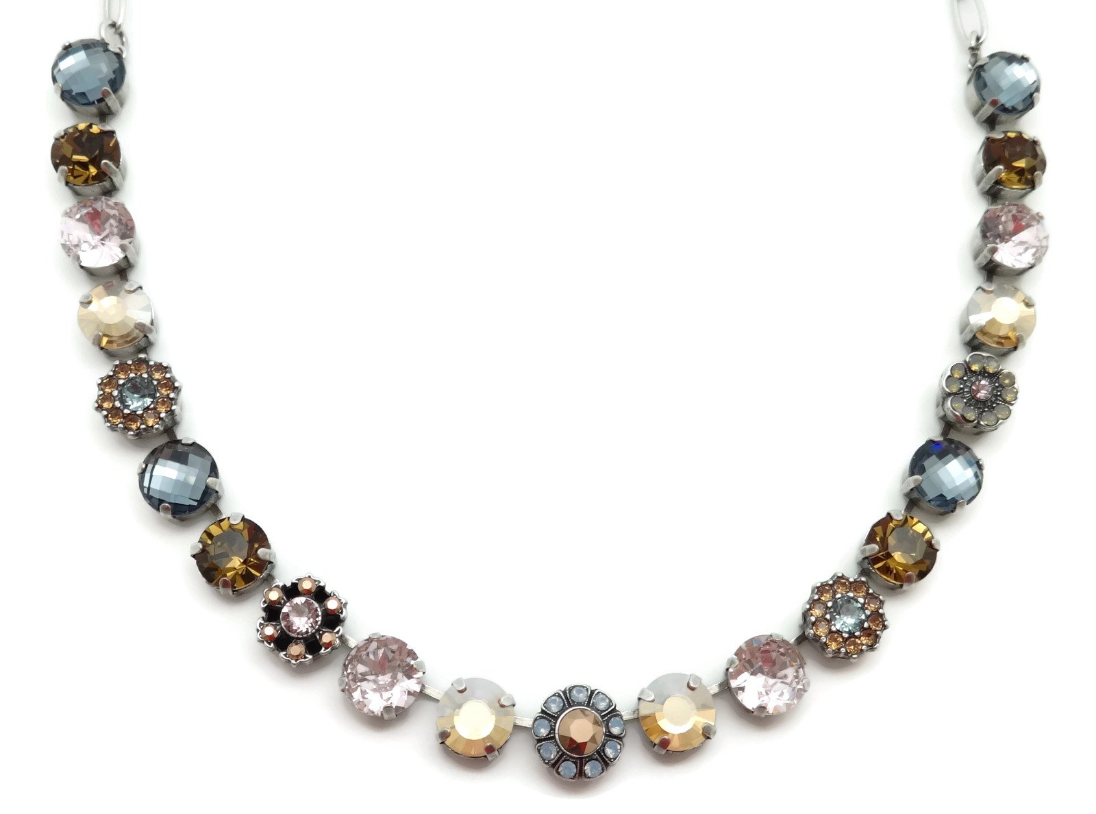 Mariana Silver Plated Swarovski Crystal Necklace Brown Pink Mix 1092 Odyssey Rhapsode