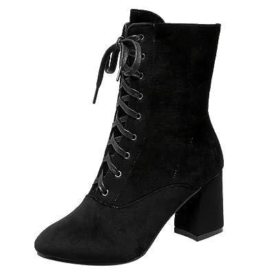 RAZAMAZA Moda Botines Tacon Ancho Alto con Cordones para Mujer: Amazon.es: Zapatos y complementos