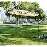 Homcom 3m Garden Parasol Sun Shade Patio Banana Hanging Rattan Set Umbrella Cantilever Cream